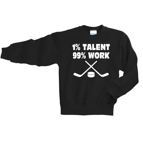 jet black pc90y youth Long sleeve hockey crewneck sweatshirt